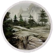 Round Beach Towel featuring the painting Fog At The Coast by James Williamson