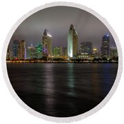 Fog Glow Over San Diego Round Beach Towel