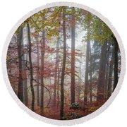 Fog In Autumn Forest Round Beach Towel