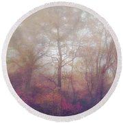 Fog In Autumn Mountain Woods Round Beach Towel