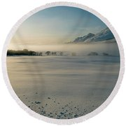 Fog In Lofoten 5 Round Beach Towel by Dubi Roman