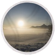 Round Beach Towel featuring the photograph Fog In Lofoten 1 by Dubi Roman