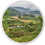 Round Beach Towel featuring the photograph Fog In The Adirondacks by Sue Smith