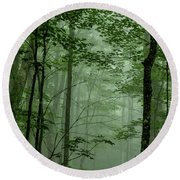 Fog In The Forest Round Beach Towel