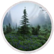 Round Beach Towel featuring the photograph Fog In The Forest by Lynn Hopwood