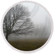 Round Beach Towel featuring the photograph Fog by John Scates