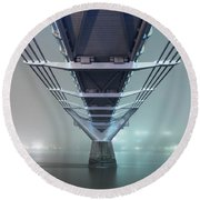 Fog - Millennium Bridge Round Beach Towel