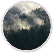 Round Beach Towel featuring the photograph Fog Moving Through The Hills by Katie Wing Vigil
