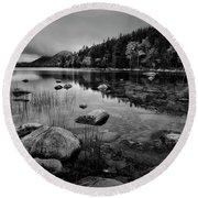 Fog On Bubble Pond Round Beach Towel