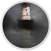 Fog On Hooper Island Round Beach Towel by Skip Willits