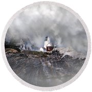 Fog On Pemaquid Point Round Beach Towel by Skip Willits
