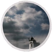 Fog On Smith Point Lighthouse  Round Beach Towel by Skip Willits