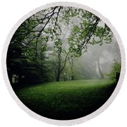 Fog On The Green Round Beach Towel