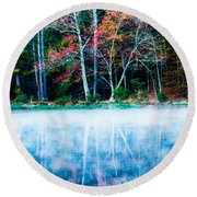 Fog On The Lake Round Beach Towel by Parker Cunningham