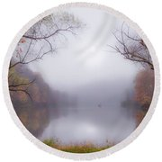 Fog On The Lake Round Beach Towel