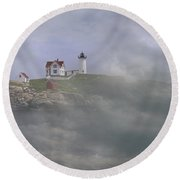 Fog On The Nubble Round Beach Towel by Skip Willits