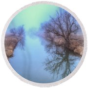 Round Beach Towel featuring the photograph Fog On The Redwater by Fiskr Larsen