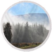 Fog On The Road To Fintry Round Beach Towel