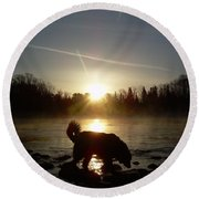Fog Over Mississippi River Round Beach Towel by Kent Lorentzen