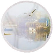 Fog Over West Dover - Digital Paint Round Beach Towel