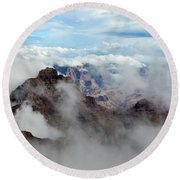 Fog Shrouded Vishnu Temple  Round Beach Towel