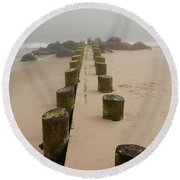 Fog Sits On Bay Head Beach - Jersey Shore Round Beach Towel