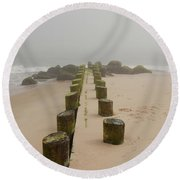 Fog Sits On Bay Head Beach - Jersey Shore Round Beach Towel