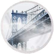 Fog Under The Manhattan Round Beach Towel by Az Jackson