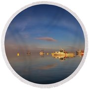 Round Beach Towel featuring the photograph Fogbow In Lubec Harbor by Rick Berk