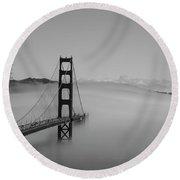 Round Beach Towel featuring the photograph Fogging The Bridge by David Bearden