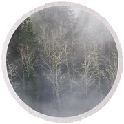 Foggy Alders In The Forest Round Beach Towel