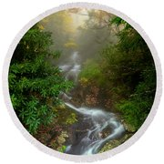 Foggy Autumn Cascades Round Beach Towel