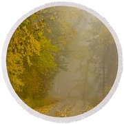 Foggy Autumn Morn Round Beach Towel
