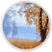 Foggy Autumn Morning On Vistula Round Beach Towel