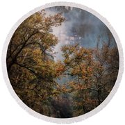 Round Beach Towel featuring the photograph Foggy Autumn Road  by Saija Lehtonen