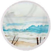 Foggy Beach Round Beach Towel