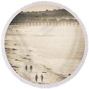 Round Beach Towel featuring the photograph Foggy Beach Walk by T Brian Jones