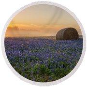 Foggy Bluebonnet Sunrise - Independence Texas Round Beach Towel