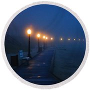 Foggy Boardwalk Blues Round Beach Towel