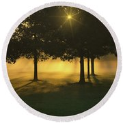 Foggy Burst Of Morning Round Beach Towel by Rachel Cohen