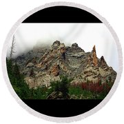Round Beach Towel featuring the photograph Colorado Mountain In Fog by Sheila Brown