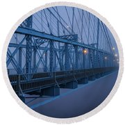 Foggy Crossing Round Beach Towel