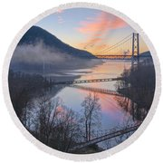 Foggy Dawn At Three Bridges Round Beach Towel
