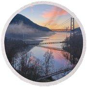 Foggy Dawn At Three Bridges Round Beach Towel