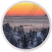 Round Beach Towel featuring the photograph Foggy Dawn by Fiskr Larsen