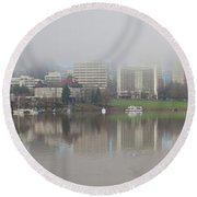 Foggy Day Along Portland Waterfront Panorama Round Beach Towel
