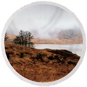 Foggy Day At Loch Arklet Round Beach Towel