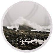 Foggy Day At The Coast Round Beach Towel