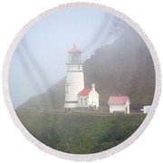 Round Beach Towel featuring the photograph Foggy Day At The Heceta Head Lighthouse by AJ Schibig
