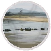Round Beach Towel featuring the painting Foggy Day by Ivana